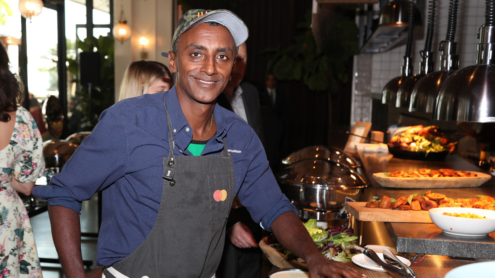 Chef Marcus Samuelsson in restaurant kitchen