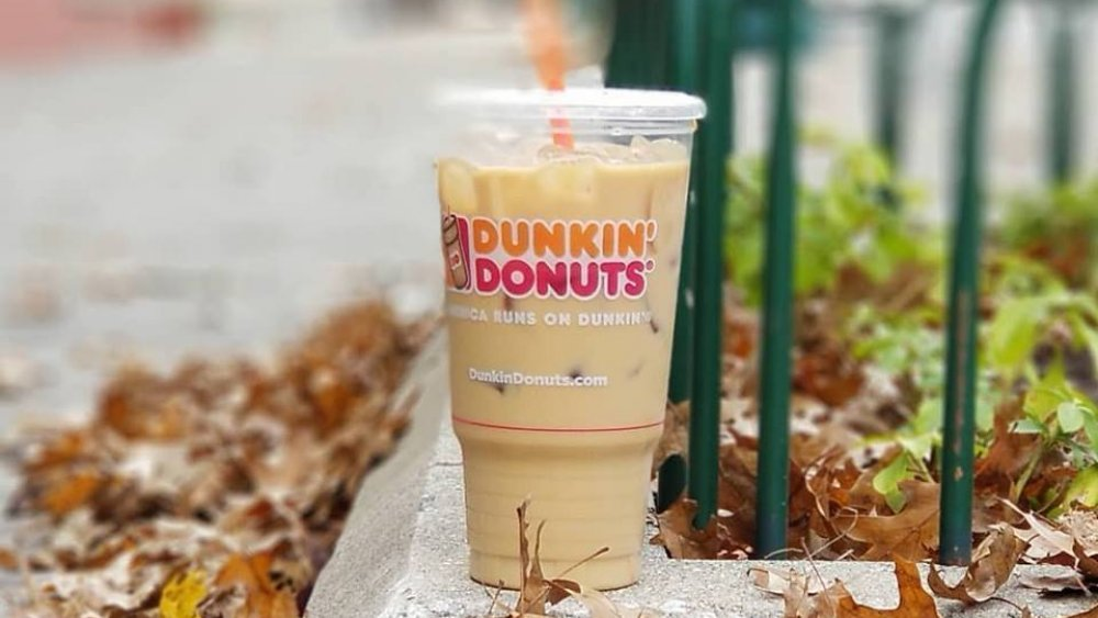 Dunkin Donuts Large Caramel Iced Coffee With Cream