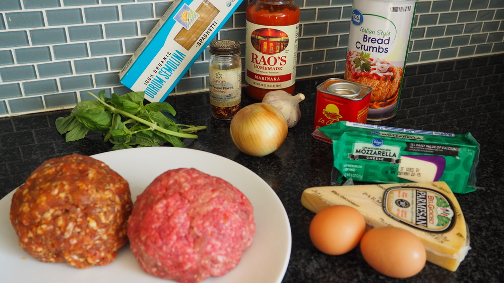 ingredients for making easy spaghetti and meatballs casserole