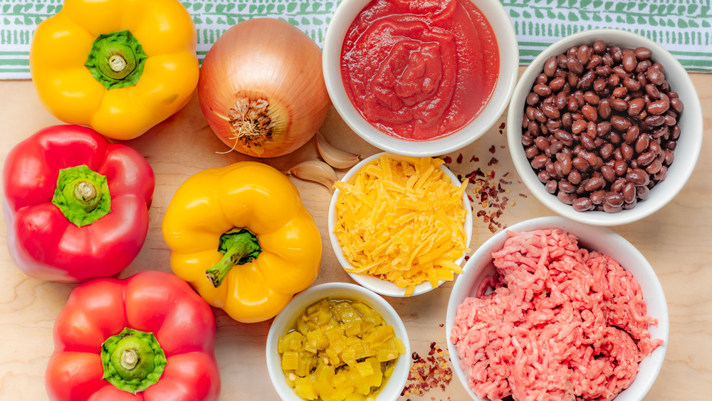 Ingredients for one-pot stuffed bell peppers recipe