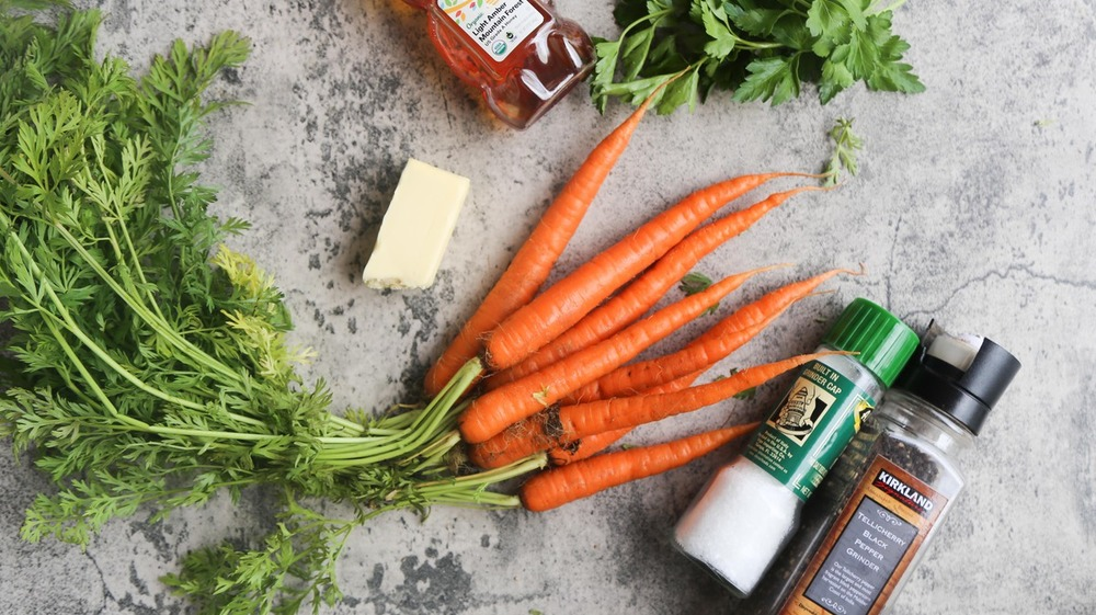 ingredients arranged for roasted carrots