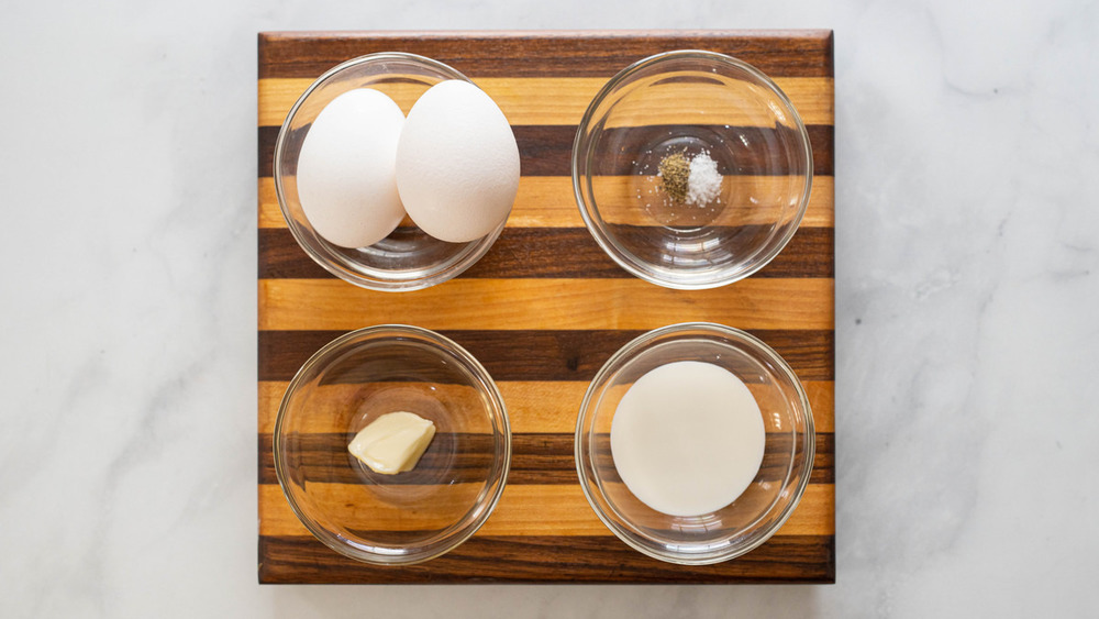 scrambled eggs recipe ingredients on counter