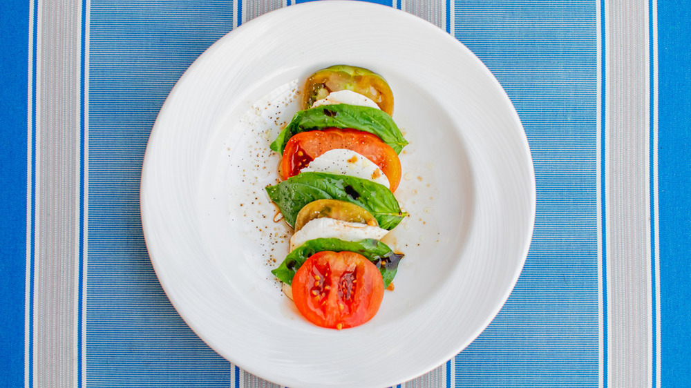 traditional caprese salad on plate