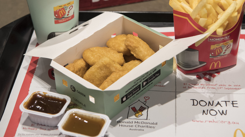 McDonald's chicken nuggets and sauce with fries