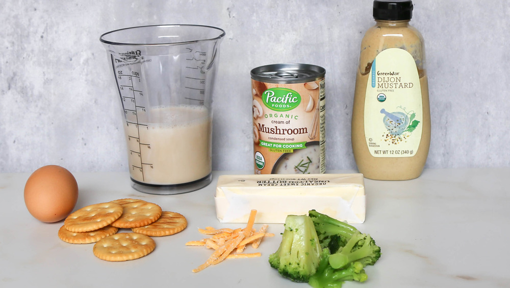ingredients for broccoli casserole recipe on counter