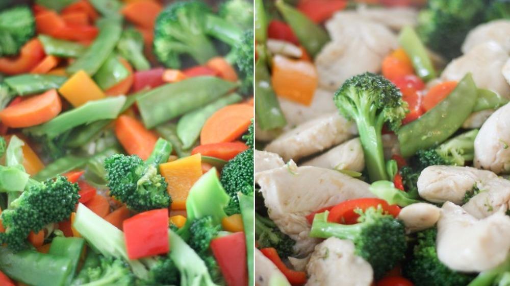 vegetables cooking for chicken stir fry
