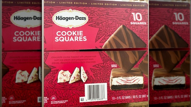 Häagen-Dazs Peppermint Bark cookie squares package