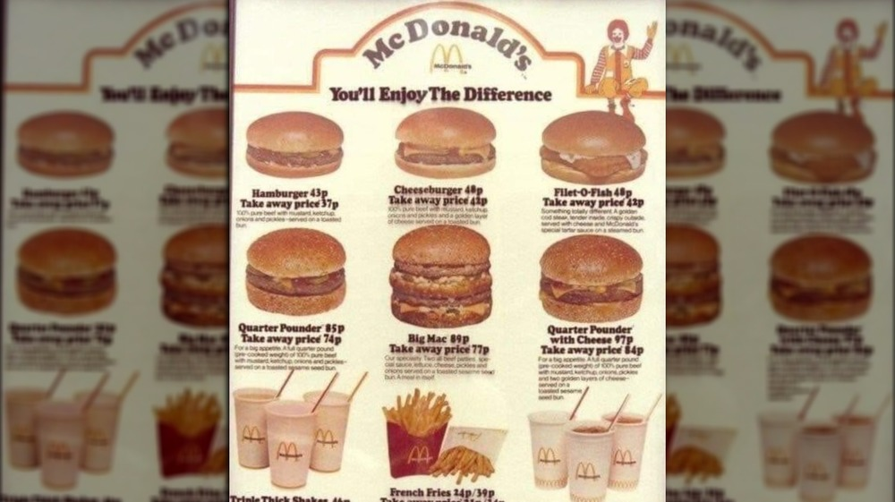 What McDonald's menu looked like the year you were born